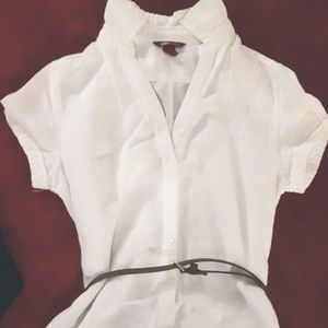 H&M L.O.G.G. 100% LINEN DRESS SIZE 4 SHORT SLEEVE